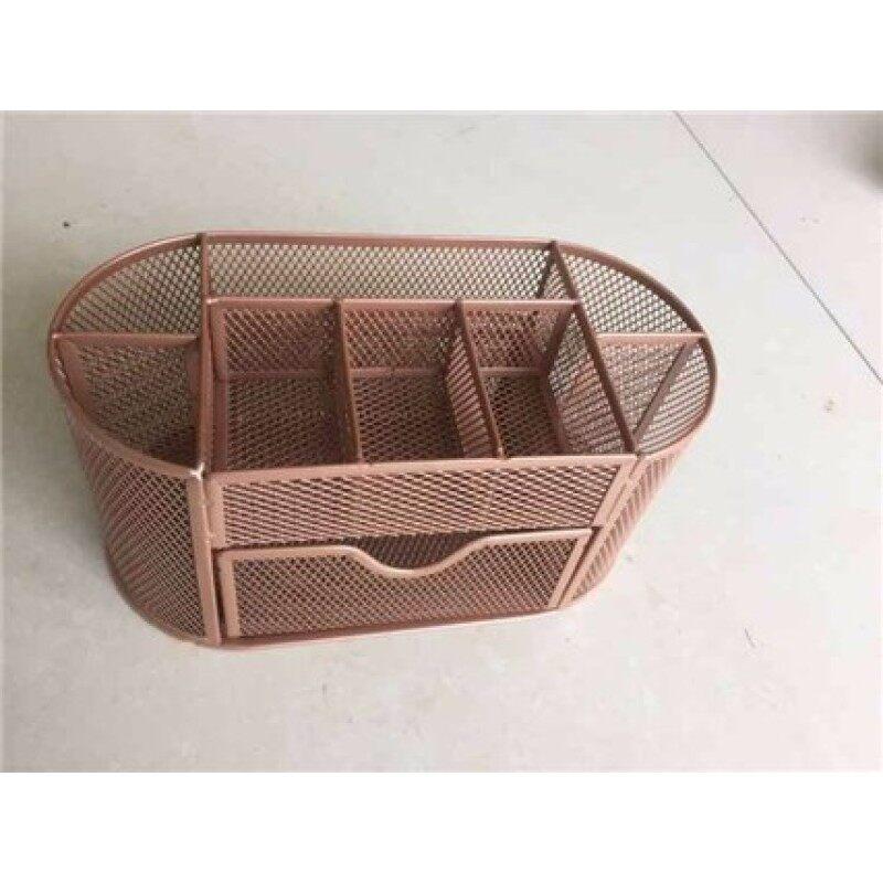 Powder coated custom design iron mesh metal wire office rose gold desk organizer