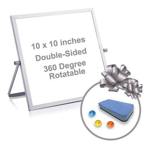 360 Degree Desktop Portable Mini Small Dry Erase Board Whiteboard for Kids Office Home School Double Side Magnetic White board