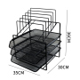 Wideny Office Black Desktop Metal Wire Mesh 3-Pack Stackable Desk File Document Letter Tray  With 5 compartment file organizer
