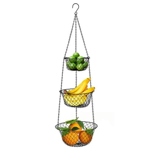 Heavy Duty Kitchen vegetables Storage display rack Round Black iron Wire 3 tier hanging fruit basket