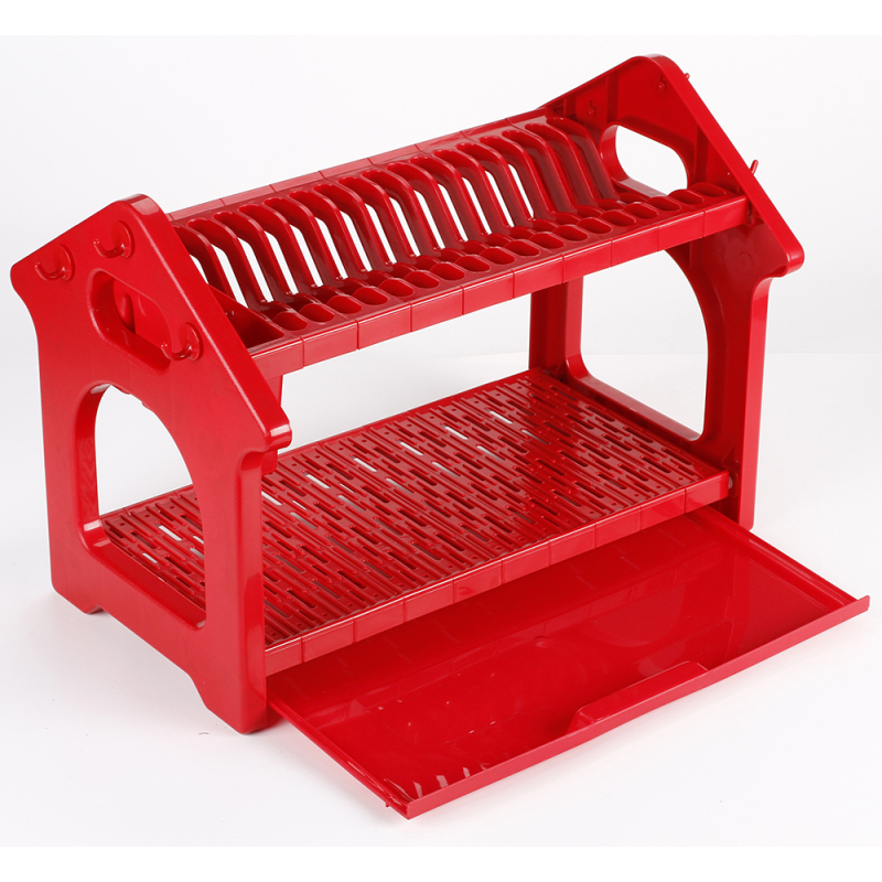 Factory wholesale useful new various colors 2 layer tree type plastic kitchen shelf dish rack for plates and bowls