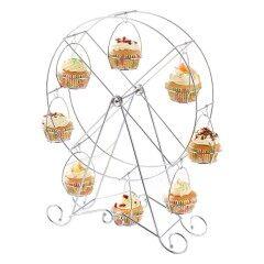 Ferris Wheel Type Powder Coated Decorative Round Shaped Metal Hanging Cake Stand