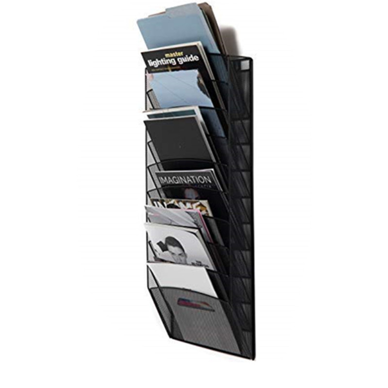 Wideny office home stationery 10 tiers wall file organizer powder coated wire metal hanging magazine holder rack