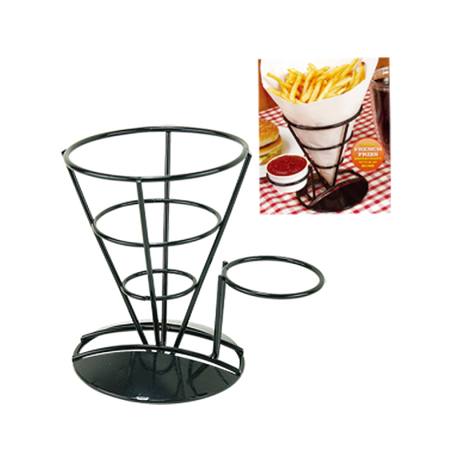 snack display rack black Metal Wire Basket French Fry Chips Cone  ice cream cone holder