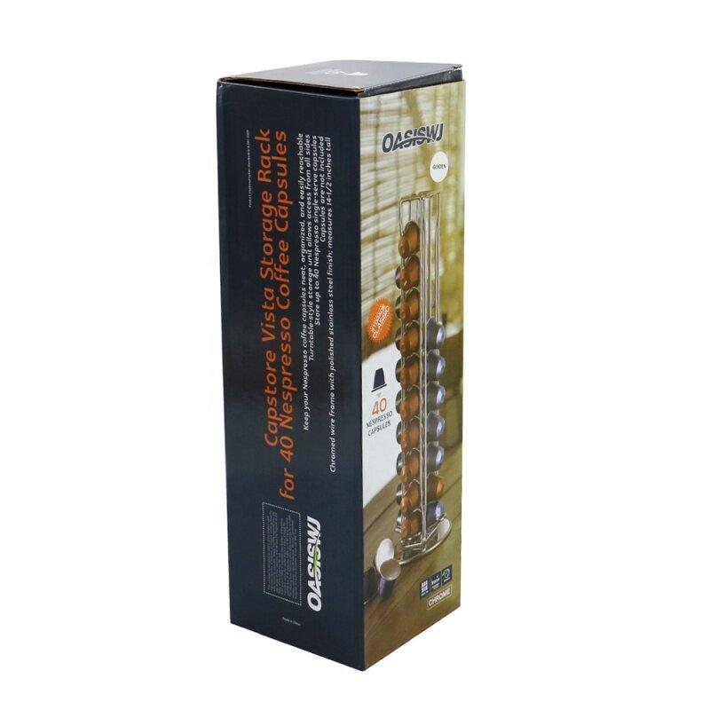 Custom logo Gold Wire Metal Tower Stand Coffee nespresso 40 capsules holder