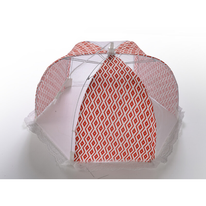 Multifunction kitchen microwave oven vegetable basket colourful plaid cloth Pop-up Folding plastic tent food cover