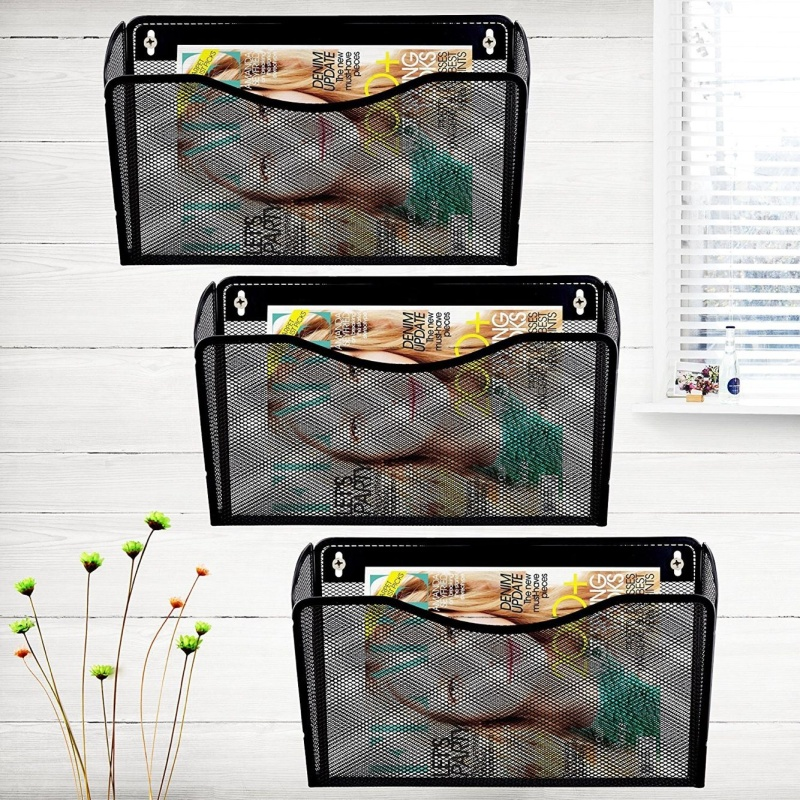 Hot-sale School and office wire mesh metal Desk storage rose gold hanging wall mounted file holder organizer