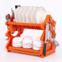 New Design Double Tier Plastic Cutlery Drainer for Kitchen Drying Organizer Dish Rack