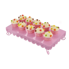 2 PCS Rectangle Cupcake Stand Set of 2 Iron Party Appetizer Plates Cake Holder Dessert Candy Display