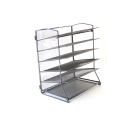 Wideny Office Supply 6 Tier Black Metal Wire 5 Pocket Adjustable Hanging Wall Mount File Organizer for Desk
