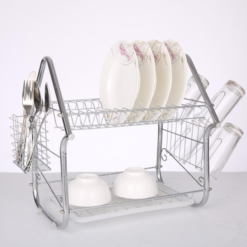 Household product high quality silver home kitchen storage 2 tiers folding metal dish rack with chopsticks rack