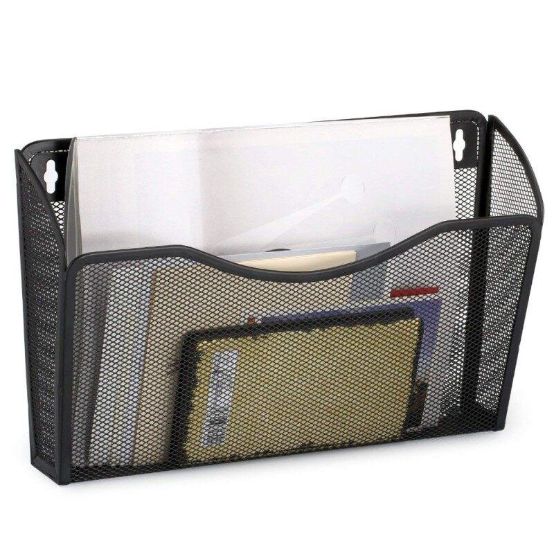 Office Home file metal holder wall mount hanging single pocket mesh file organizer