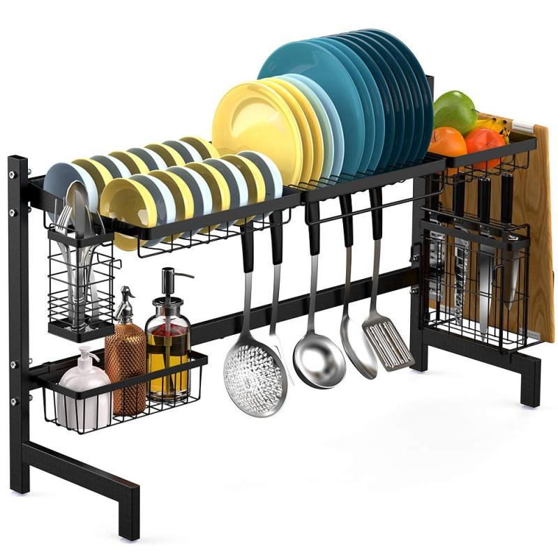 MOQ 100pcs 2 Tier 85cm Black Metal Kitchen Storage 201 stainless steel Over Sink Dish Drying Rack