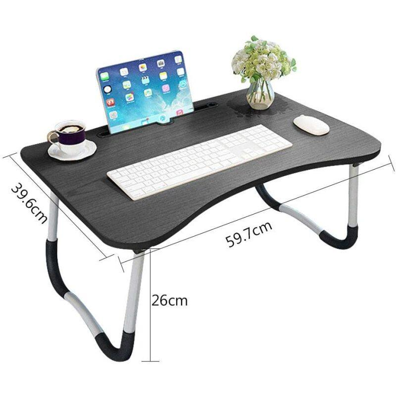 Folding Wooden Desk Laptop Stand, Foldable Holder Metal Leg Laptop Stand with Cup Holder