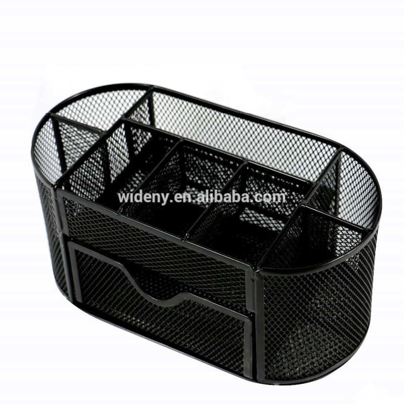Wideny Office Wire Metal Desk Caddy Makeup Mesh Desk Organizer with sliding drawer