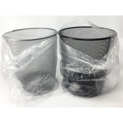 Wideny Office & home Iron mesh black hotel stainless steel wire metal round kitchen garbage trash bin