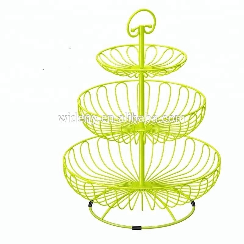 Metal iron wire home party yellow 3-tier cupcake fruit basket