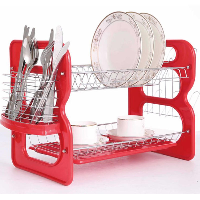 Wideny chrome plate home restaurant supply 2 tier detachable metal wire mesh dish rack with hooks