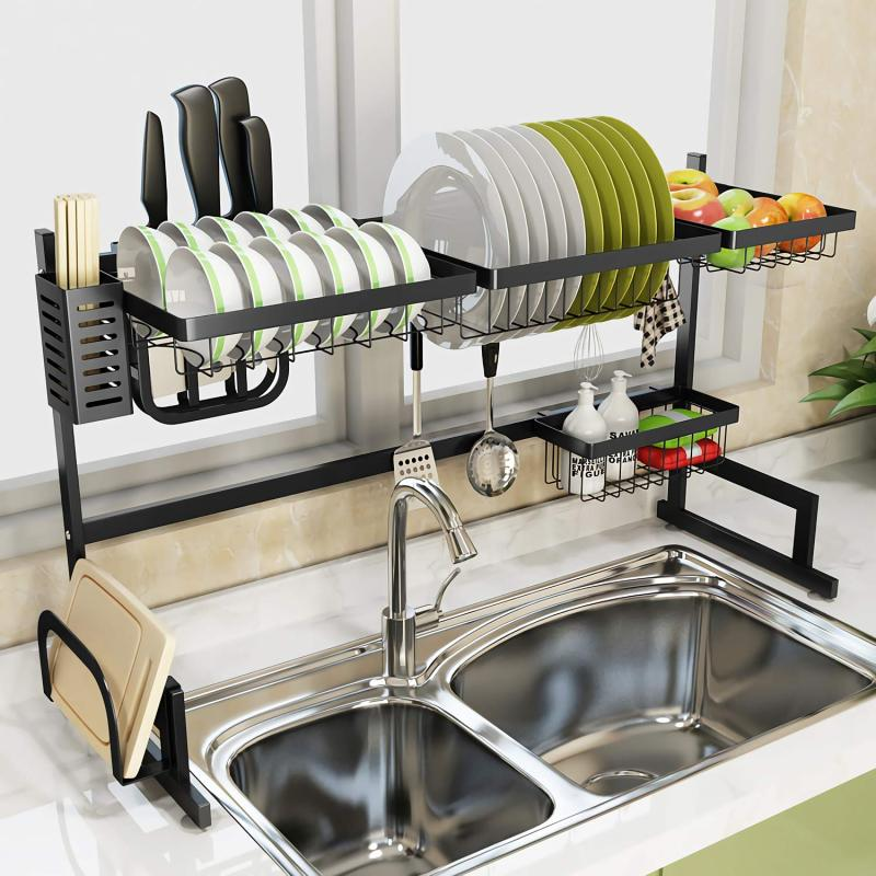 Wideny Home kitchen different sizes removable metal iron 2 tiers dish rack for storage bowl Chopsticks knife
