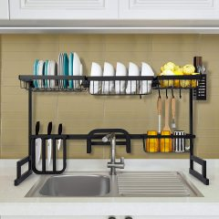 Kitchen Over The Sink 201 Stainless Steel Black Rustproof 2 Tier Dish Drying Rack for Drain Board Utensil Holder Cutting Board