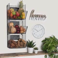 Wideny wholesale home kitchen 3 tiers black wall mounted iron metal wire mesh fruit potato storage basket