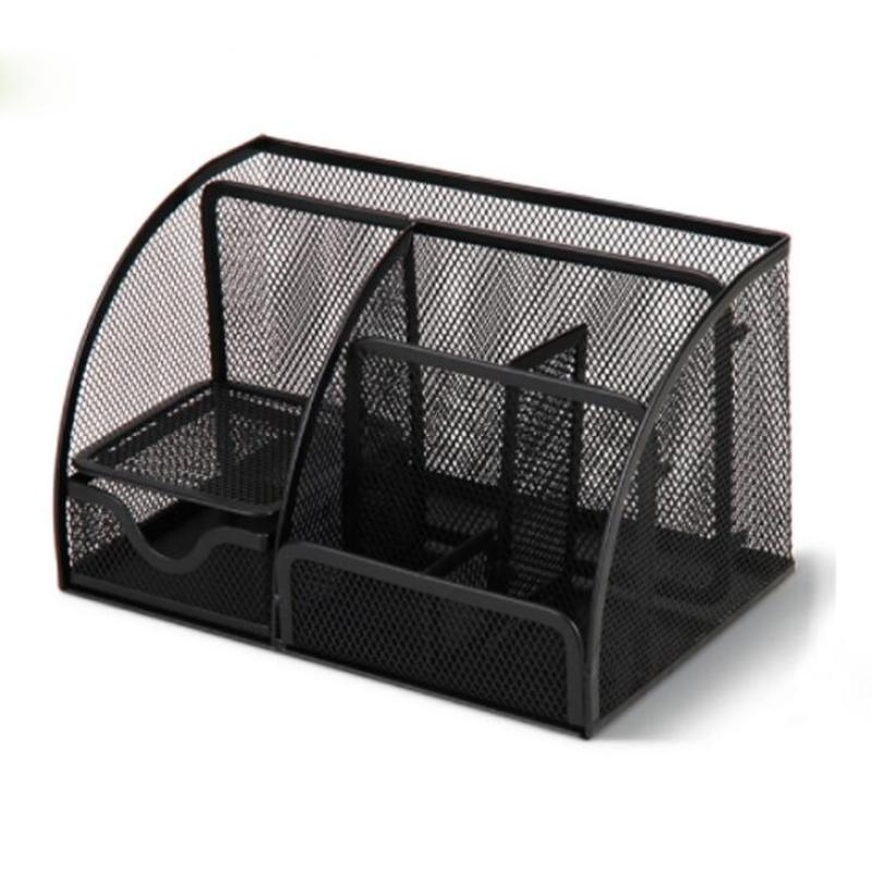 Wideny Office and home 6 compartments Black Desktop caddy Metal Mesh Desk Organizer with drawers