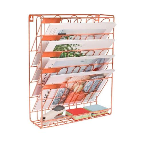 New Item Rose Gold Iron Wire Metal 6 Tier Wall Mount Desktop Document Magazine Holder Letter Tray Organizer
