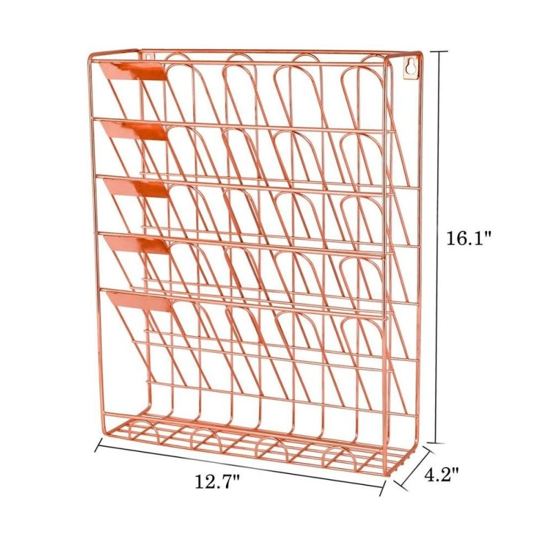 Office school household storage document wire metal mesh rose gold wall mount mounted hanging file organizer for file holder