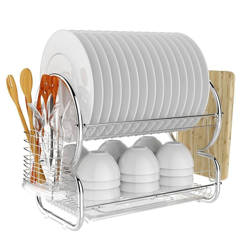2 tier kitchen flatware round metal cup bowl dish drying drainer rack with drainboard