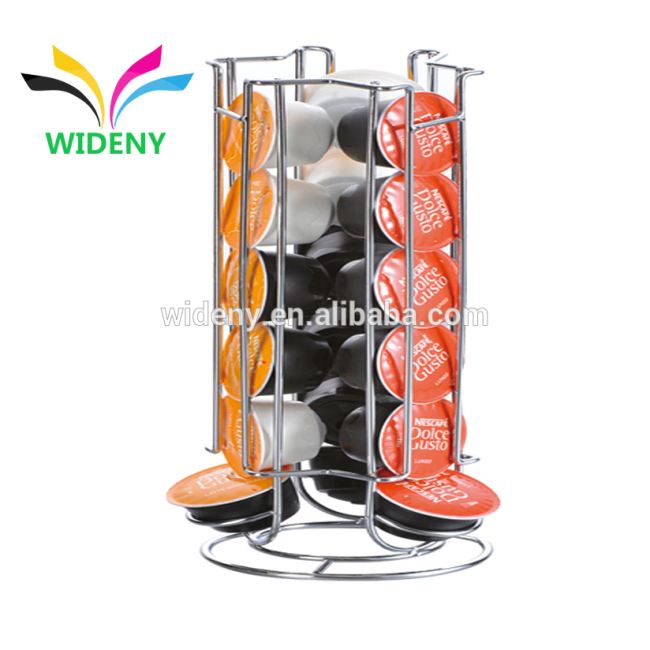 WIDENY Rotating 24 Dolce Gusto k-cup metal wire steel100 Capsule Storage Drawer Coffee Pod Holder