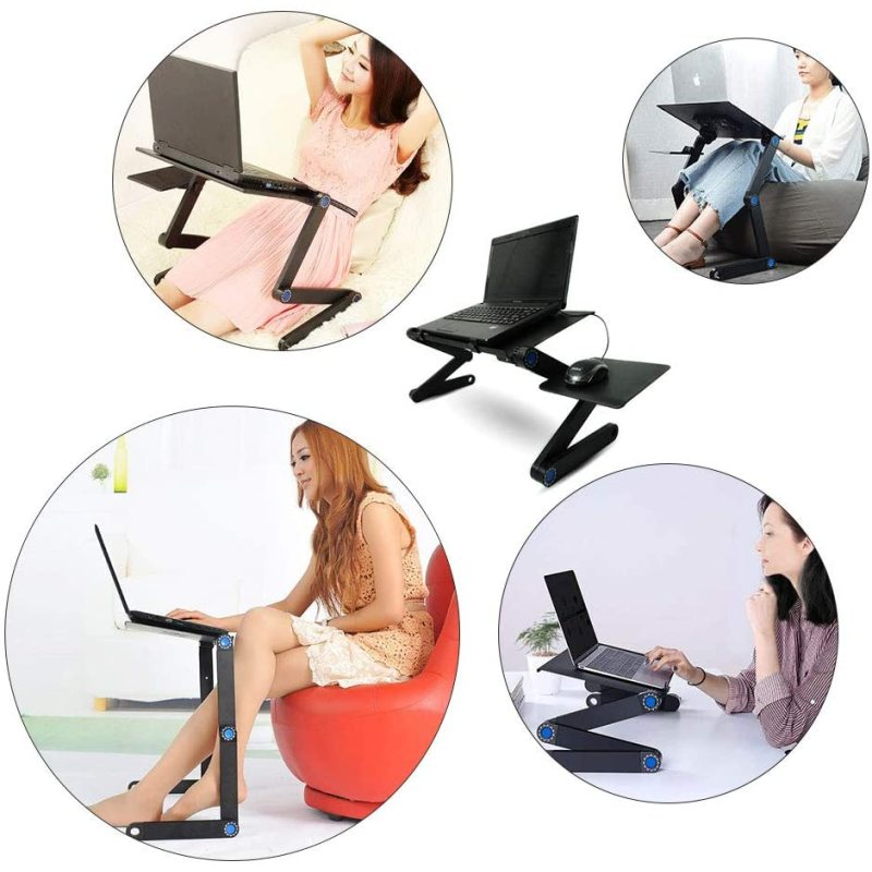 Home Working Use Aluminium Desktop Adjustable Portable Foldable Laptop Holder Stand for Bed with Mouse Pad Cooling Holes