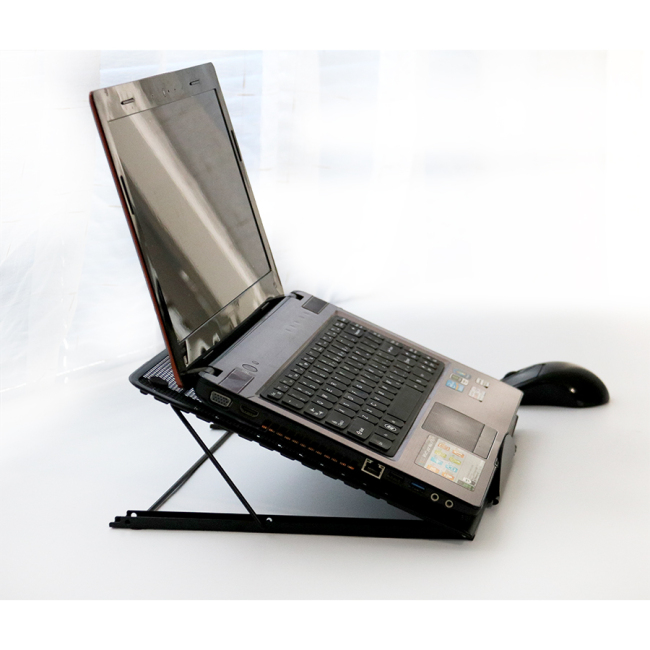 Suppliers Adjustable Black Powder Coated Iron Metal Mesh Foldable Security Laptop Holder for Notebook Mini Table