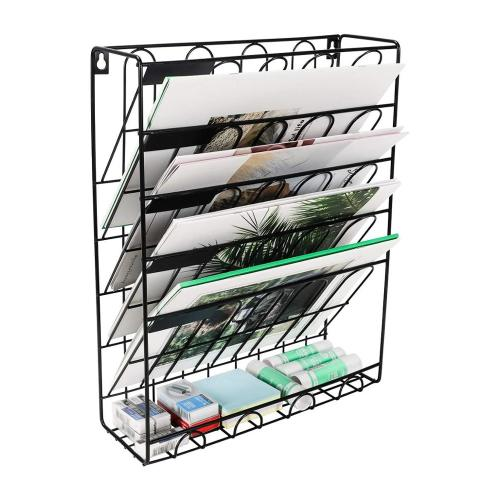 WIDENY Factory supplies Office Wire Metal Desk 6 tier wall mount document letter tray Rose Gold Hanging file organizer
