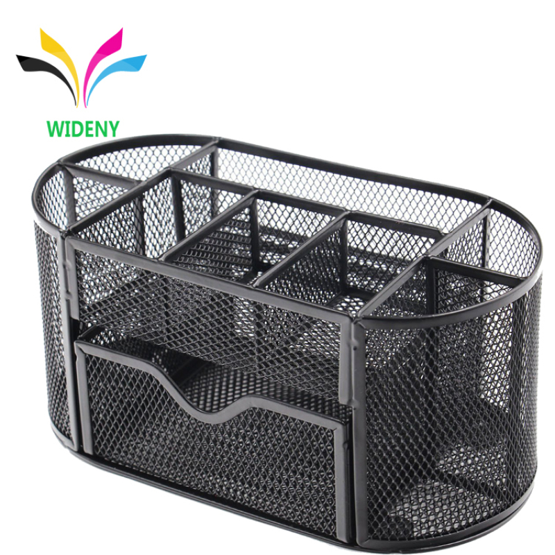 Wideny Black Wire Metal Mesh Desktop 9 compartments Table Caddy Makeup Desk Organizer for office and home