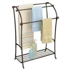 New design hotel bathroom corner wrought iron metal wire floor free standing double dryer bath towel rack