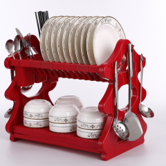 wholesale supply kitchen cabinet 3 tier red Tree type metal Wire plastic package edge dish rack with drainboard
