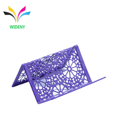 2019 new mini Die cut purple portable metal mesh business name card holder
