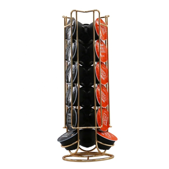 wholesale home use wire 360 degree  revolving coffee capsule holder for living room