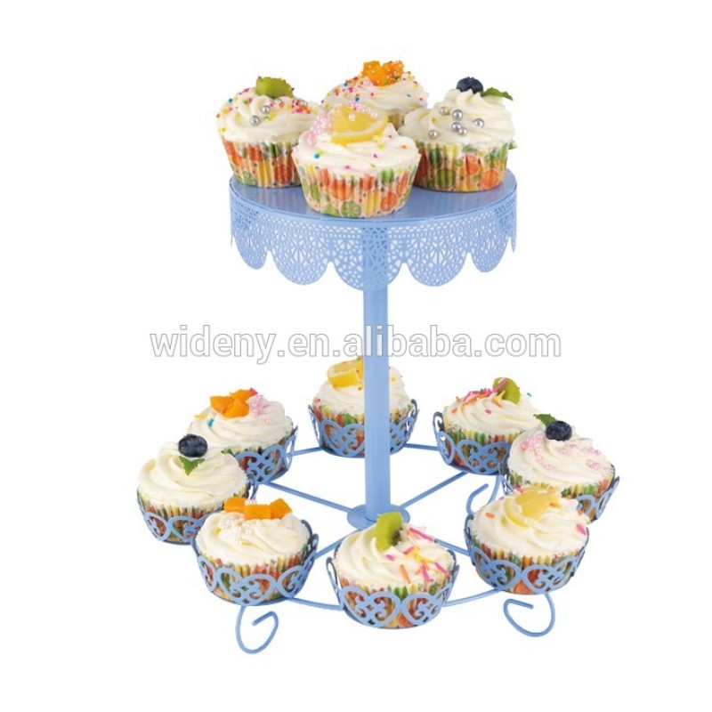 Multifunctional Wedding Decorative 2 Tier 12 Cup Round Shaped Metal White Cake Stand