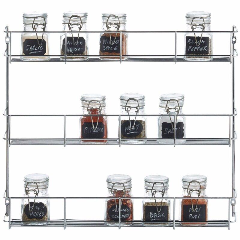 Wideny Chrome Home storage metal wire kitchen organizer display jar wall mount spice rack