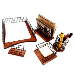Office Supplies Wooden Base Desktop Accessories 4 Piece Metal Wire Desk Organizer Set