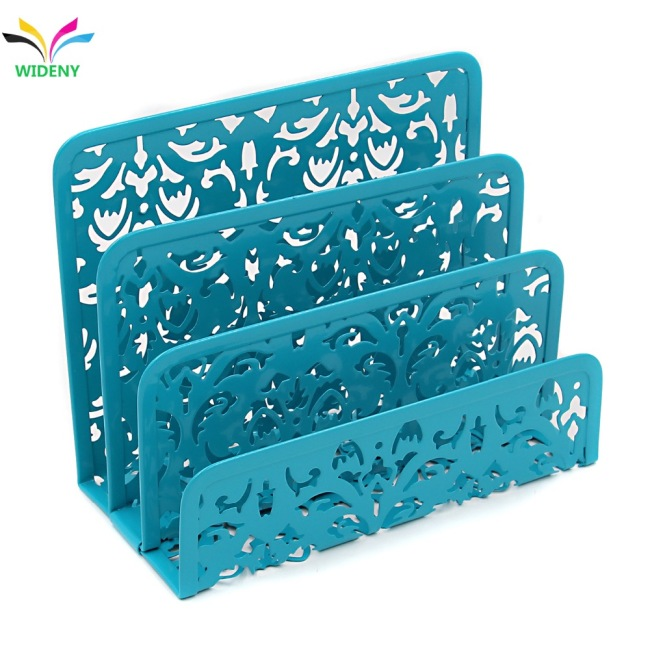 WIDENY hollow flower pattern metal desktop 3 upright mail letter sorter holder