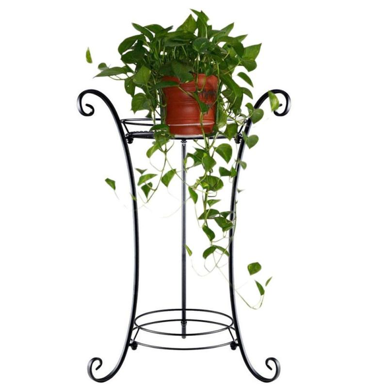 home Garden decoration single tier Round black powder coated display planting iron metal flower pot stand