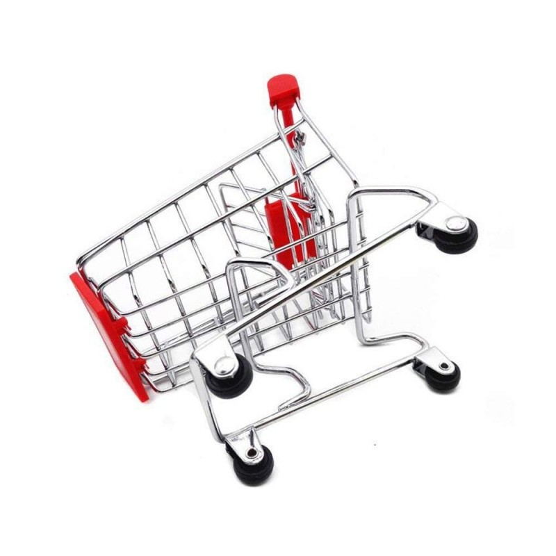 Mini Desktop Utility Storage Pen Cup Desk Accessory Decoration Ornament Toys red metal wire Supermarket Handcart Shopping Cart