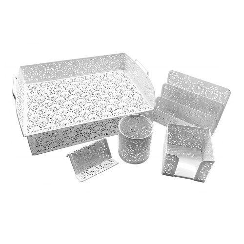 2019 custom Best-Selling office metal mesh gift stationary 6pcs set office Desk Organizer