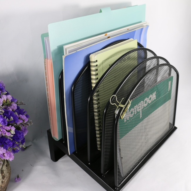 5 Sections stackable Files sorter wire metal mesh office document organizer file tray