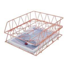 Wideny Rose Gold Desk Desktop Stationery Gift set Letter Holder Metal Document Organizer 3 pcs 4 pcs 5 pcs Office Sets