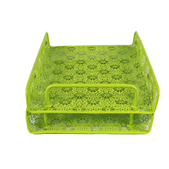 Wideny hollow pattern 2 tier metal Stackable Desk Document Letter Organizer file Tray