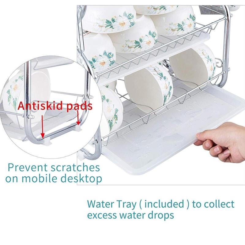 Kitchen Use Large Capacity Stainless Steel 3-Tier Chrome Plated Metal Wire Dish Drying Rack for Cutlery Cup Bowl
