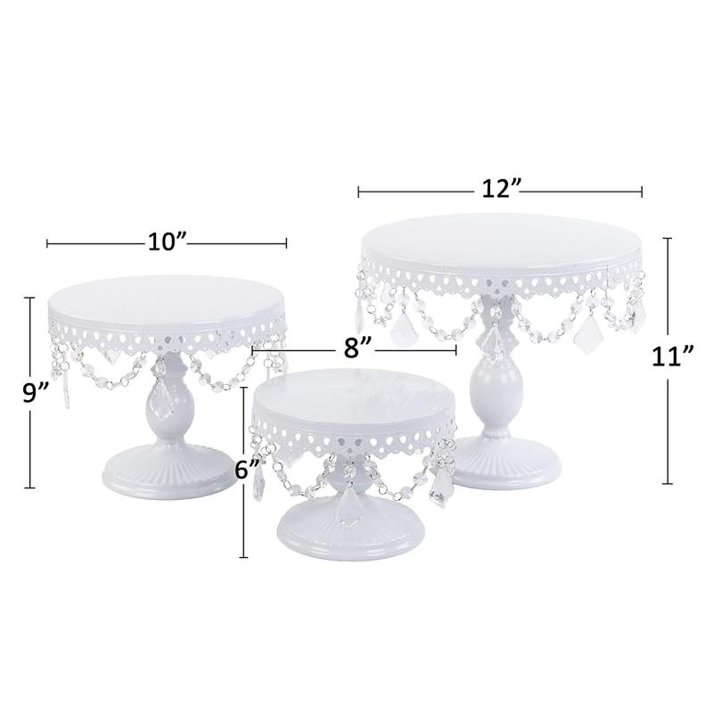 Birthday party wedding supply cake cupcake display shelf powder coated wire metal 3pcs crystal decoration cake stand set